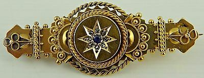 Boxed Antique 15ct gold sapphire set Edwardian brooch