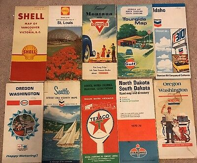 27 Vintage Gas Station/Oil Advertising Maps USA & Canada