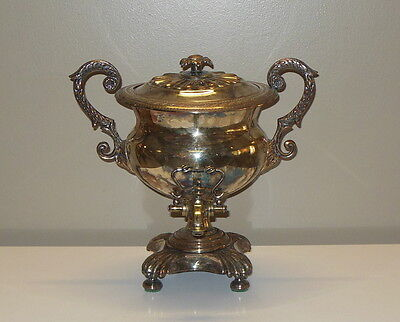 Antique 19th C. Sheffield England Silver Plate Samovar Coffee Tea Water Urn
