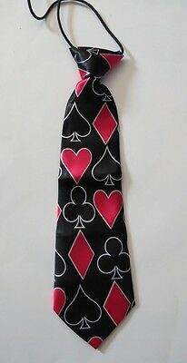 NEW Pre-tied Elastic Neck Tie Baby Toddler Boys Girls CARD SUITES FREE Shipping!