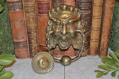 Antique Brass Door Knocker Strike Plate French Gargoyle Gothic