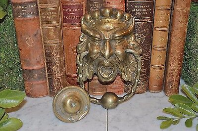Antique French Brass Door Knocker with Strike Plate Gargoyle Greenman Gothic