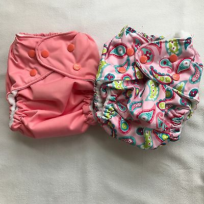 FuzziBunz One Size Pocket Diapers Lot Of 2 - Pink & Pink Paisley