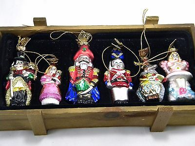 6 Pc 2004 Thomas Pacconi Blown Glass Nutcracker Christmas Ornaments Wood Crate