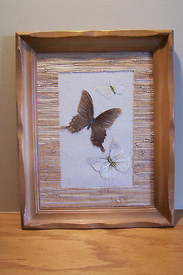 Butterfly Framed Textile Wall Mount Art or Decorative Tray Vintage/Vtg
