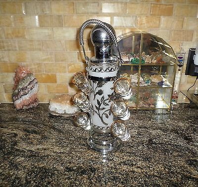 Vintage Liquor Pump Decanter with 6 Shot Glasses, Silver-Tone/Frosted Glass