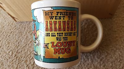 "(6 qty) Arkansas Souvenir Ceramic Coffee Mugs Cups ""Lousy Mug"" - Brand New!"