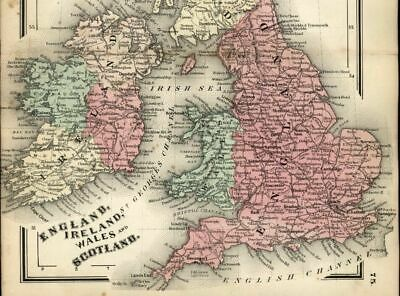 England Ireland Wales Scotland U.K. Great Britain1865 Colton small antique map