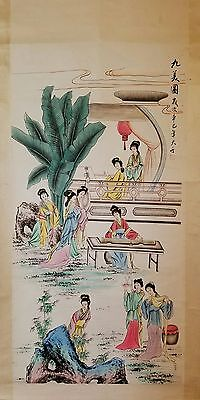 DG3 Large Chinese Hand Painted Scroll Nine Beauties Signed and Sealed