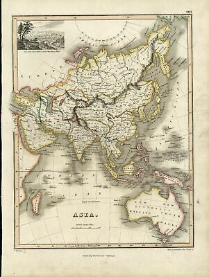 Asia New Holland Arabia China India Persia Australia 1819 old Wyld Hewitt map
