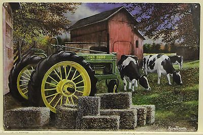 JOHN DEERE Metal Sign vintage Tractor farm art print nature Cows barn