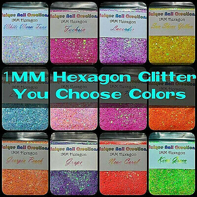 1MM Hexagon Glitter~You Choose~Nail Art•Acrylic•Gel•Body Art•Festival•Crafts