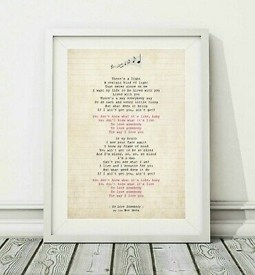 312 Bee Gees - To Love Somebody - Song Lyric Art Poster Print - Sizes A4 A3
