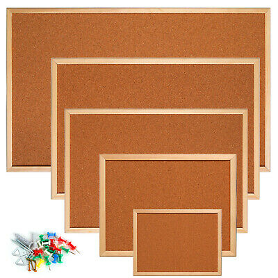 Cork Pin Message Notice Board Wooden Frame Office Memo School Pinboard Push Pin