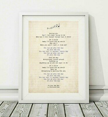 315 Fleetwood Mac - Go Your Own Way - Song Lyric Art Poster Print - Sizes A4 A3