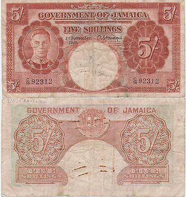 Jamaica 5 Shillings Banknote,1940 Choice Fine Condition Cat#37-A-2312