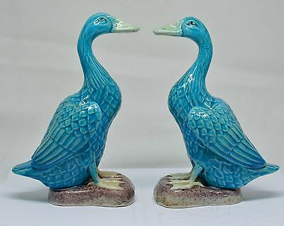 Antique Chinese Turquoise Blue Ducks ~ Pair ~  6 Inches Tall ~