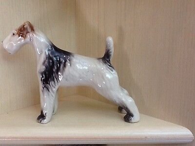 Porcelain Dog Statue Terrier Beautiful 9 1/2 Inches Long