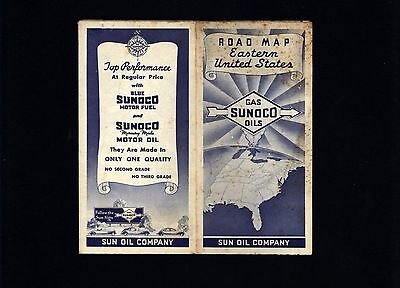 SUNOCO 1937 Road Map of Eastern United States