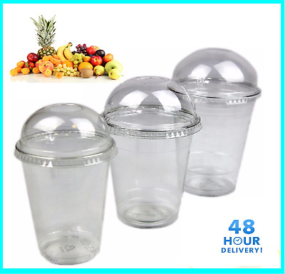 Smoothie Milkshake Cups Lids 10oz 12oz 15oz Clear Plastic Domed Disposable SOLO