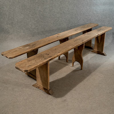 Antique Pair of 8' Long Country Benches Pews English Victorian Pine c1900