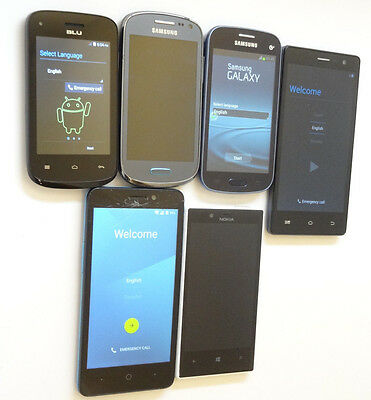 Lot of 6 GSM Locked & GSM Unlocked Smartphones Mixed Brands All Power On AS-IS