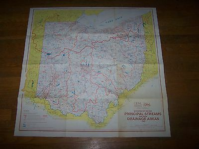 Vintage 1985 Ohio Division of Water Streams Drainage Areas Map