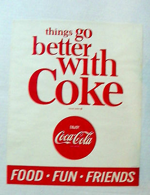 """1970's """"ENJOY COCA-COLA ~ THINGS GO BETTER WITH COKE"""" PAPER SIGN"""
