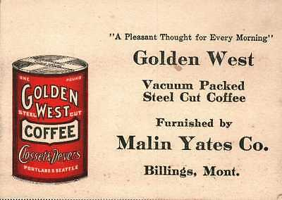 Vintage Victorian Trade Card Golden West Coffee Closset & Devers