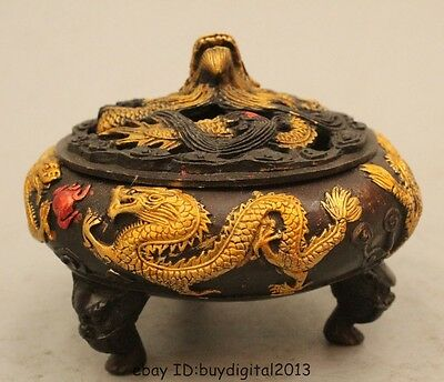 """3""""Marked Chinese Dynasty Palace Bronze Gild Dragon Play Bead Incenser Burner Cen"""