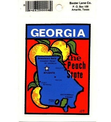 Lot of 12 Georgia State Map Souvenir Luggage Decals Stickers - New - Free S&H
