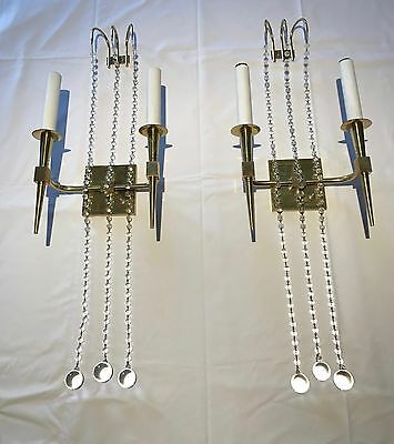 TOMMI PARZINGER Vintage Original PAIR Brass and Crystal Sconces Mid Century