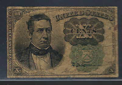 10¢ GREEN Seal Fractional Currency Old US TEN Cents Postal Civil War PCGS12 Note