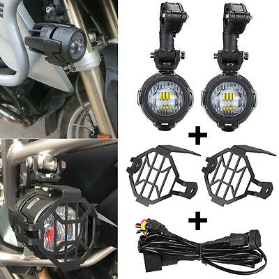 LED Auxiliary Fog Light Protector Guard Cover w/ Wiring Harness For BMW R1200GS