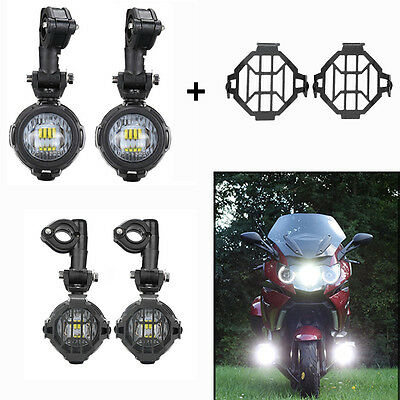 2X 40W Auxiliary Passing Lights for BMW Motorcycle Fog Lamps w/ Guard Protectors