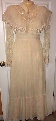Vintage Long Off White Dress Antique Ruffles Lace Wedding Prom Retro Play