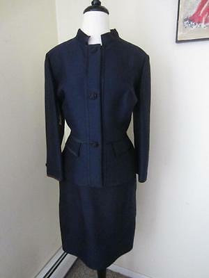 Vintage 50s 60s Navy Blue Dress Suit Skirt Jacket NWT Wool Silk Rhinestone L XL