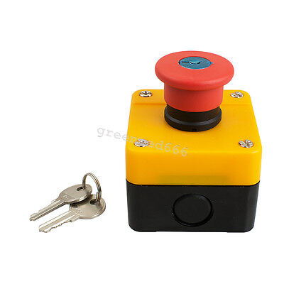 Industry Red Sign Emergency Stop Push Button Switch with Key 1NC  660V 10A