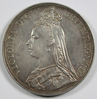 Great Britain 1889 Silver JUBILEE Crown Coin XF Queen VICTORIA KM#765