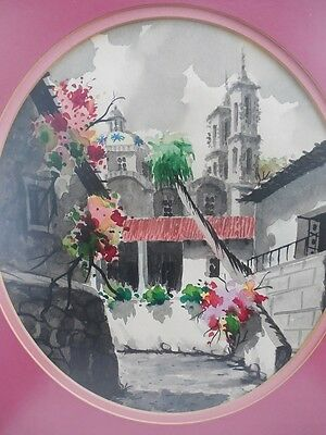 "Old Taxco Mexico Beautiful Original Watercolor Painting Framed 17 1/4"" x 14,5"""