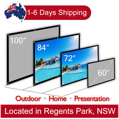 """16:9 Projector Screen Portable Home Theater Outdoor Matte White 100"""" 84"""" 72"""" 60"""""""