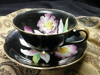 HAND PAINTED JAPAN c 1930 BLACK FOOTED CUP AND SAUCER