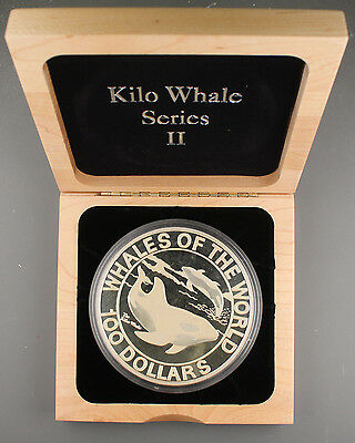 Bahamas 1994 Kilogram Kilo 32.15 Oz Silver $100 DOLLAR Proof Coin Whale of World