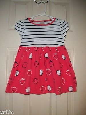 Euc Gymboree Baby Girl Everyday Favorites Strawberry Striped Dress 18-24 Months