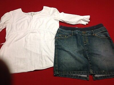 Womens Maternity Outfit Bluejeans Skirt And White Top .size Large