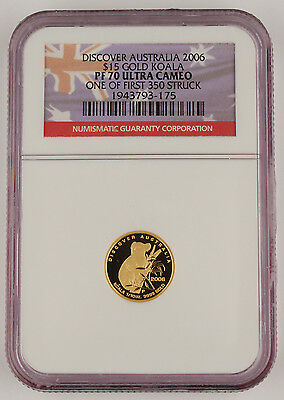 Australia 2006 P $15 Koala 1/10 Oz Gold Proof Coin NGC PF70 UC First 350 Struck