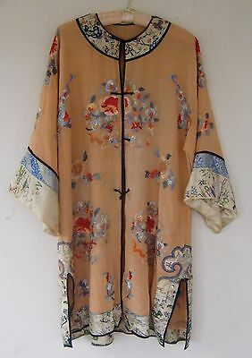antique chinese qing dynasty embroidered pale orange  lower court robe