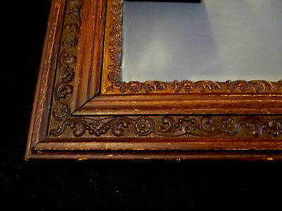 "Vintage Antique Ornate Wooden Framed Mirror - Original Dark Finish - 27"" x 23"""