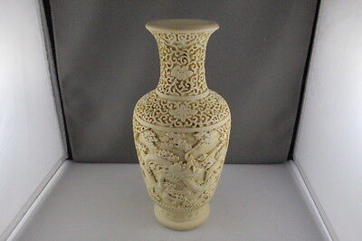 "Rare Vintage Chinese Carved Cinnabar Lacquer Dragon Design Vase White 10"" High"