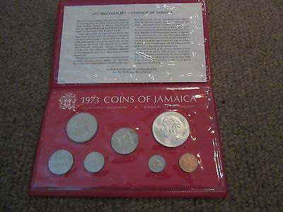 Jamaica 1973 Uncirculated Coin Set With Sterling Silver $5 Dollar Manley Coin